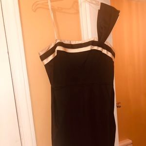 BCBG  black dress with cream accent and belt